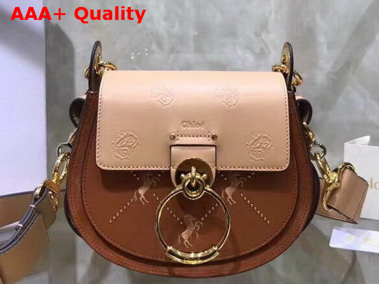 Chloe Small Tess Bag in Smooth Calfskin with a Mix of Little Horses Embroidery and Debossed Baroque C Caramel Replica