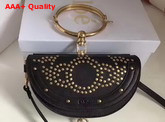 Chloe Studded Small Nile Minaudiere in Black Smooth Calfskin Replica