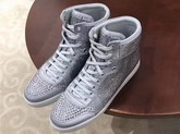 Christian Louboutin Loubikick Sneaker Boot with Strass Light Grey For Sale