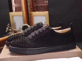 Christian Louboutin Louis Junior Spikes Mens Flat in Black Suede Calfskin For Sale