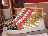Christian Louboutin Louis Spikes Orlato Mens Flat Red Black and Metallic Gold Calfskin Leather For Sale