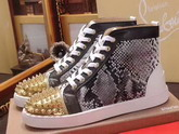 Christian Louboutin Louis Spikes Orlato Mens Flat in Python with Metallic Gold and Black Leather Trim For Sale