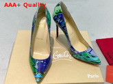 Christian Louboutin Pigalle Follies Pointy Toe Stilettos Green CL Exclusive Multi Colored Printed Patent Leather Replica