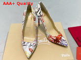 Christian Louboutin Pigalle Follies Pointy Toe Stilettos White CL Exclusive Multi Colored Printed Patent Leather Replica