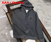 Burberry Monogram Motif Cotton Oversized Hooded Top Grey Replica
