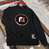 Fendi Sweatshirt in Black with Embroidered Fendi Logo Replica