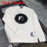 Fendi Sweatshirt in White with Embroidered Fendi Logo Replica