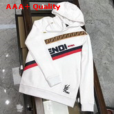 Fendi Sweatshirt in White with Printed FF Motif and Strip Replica