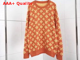 Louis Vuitton Full Monogram Jacquard Crew Neck Fluorescent Orange 1A5CPM Replica 1A5CPM
