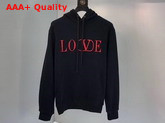 Valentino Love Hooded Sweatshirt in Black Cotton Replica