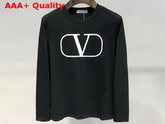 Valentino VLOGO Crew Neck Sweatshirt in Black Cotton Replica