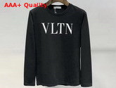 Valentino VLTN Crew Neck Sweatshirt in Black Cotton Replica