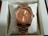 Rolex Date Just 36 Oyster 36mm Everose Gold and Diamonds for Sale