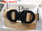 Dior Beige Cotton Canvas Belt with Christian Dior Buckle Replica