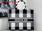 Dior Book Tote Bag in Embroidered Canvas Black and White Replica