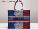 Dior Book Tote Bag in Embroidered Canvas with a Multicolored French Flag Motif Replica