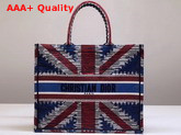 Dior Book Tote Bag in Embroidered Canvas with a Multicolored Union Jack Motif Replica