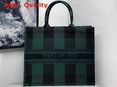 Dior Book Tote Bag in Green and Black Embroidered Canvas Replica