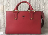 Dior D Bee Tote Handbag in Red Smooth Calfskin For Sale