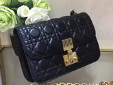 Dior Dioraddict Wallet On Chain Clutch in Black Lambskin with Cannage Motif For Sale