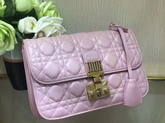 Dior Dioraddict Wallet On Chain Clutch in Light Pink Lambskin with Cannage Motif For Sale