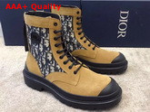 Dior Explorer Ankle Boot Beige and Black Dior Oblique Jacquard and Brown Suede Calfskin Replica