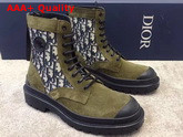 Dior Explorer Ankle Boot Beige and Black Dior Oblique Jacquard and Olive Suede Calfskin Replica