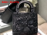 Dior Lady Dior Bag in Black Lambskin with Embroidered Flowers Replica