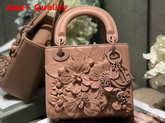 Dior Lady Dior Bag in Nude Lambskin with Embroidered Flowers Replica