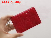 Dior Lady Dior Calfskin Card Holder in Cherry Red Patent Cannage Calfskin Replica