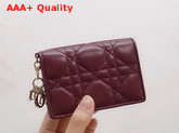 Dior Lady Dior Lambskin Card Holder in Burgundy Cannage Lambskin Replica