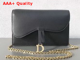 Dior Large Saddle Wallet on Chain Clutch in Black Calfskin Leather Replica