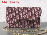 Dior Large Saddle Wallet on Chain Clutch in Burgundy Dior Oblique Jacquard Canvas Replica