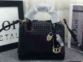 Dior Lily Bag Black Patent Calfskin with Micro Cannage Motif for Sale