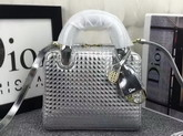 Dior Lily Bag Silver Tone Metallic Calfskin with Micro Cannage Motif for Sale