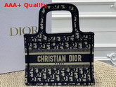 Dior Mini Book Tote Bag in Blue Dior Oblique Embroidered Canvas Replica