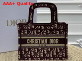 Dior Mini Book Tote Bag in Burgundy Dior Oblique Embroidered Canvas Replica