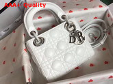 Dior Mini Lady Dior Bag in White Lambskin Replica