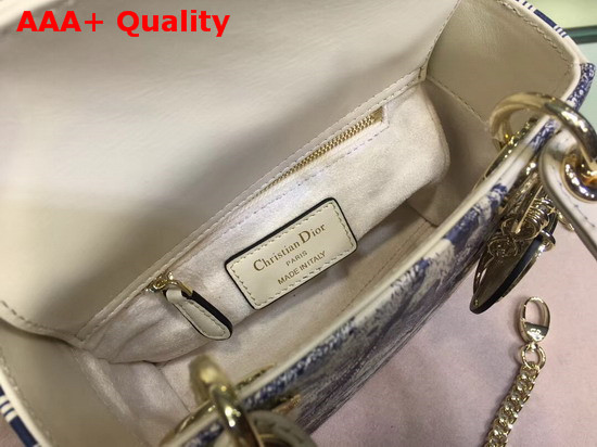 Dior Mini Lady Dior Toile De Jouy Bag Ivory Smooth Calfskin Replica