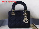 Dior Mini Lady Dior Velvet Bag in Black Replica