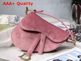 Dior Mini Saddle Velvet Bag in Pink Replica