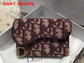 Dior Oblique Saddle Card Holder in Burgundy Replica