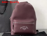 Dior Rider Rucksack in Burgundy Grained Calfskin with Christian Dior Atelier Print Replica