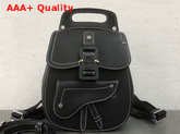 Dior Saddle Backpack in Black Grained Calfskin with Black Christian Dior Buckle Replica