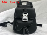 Dior Saddle Backpack in Black Grained Calfskin with Silver Christian Dior Buckle Replica