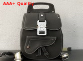 Dior Saddle Backpack in Grey Grained Calfskin with Silver Christian Dior Buckle Replica
