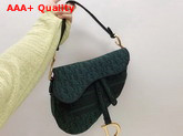 Dior Saddle Bag in Green Dior Oblique Embroidered Canvas Replica