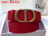 Dior Saddle Belt in Red Calfskin Replica