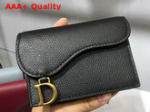 Dior Saddle Calfskin Card Holder in Black Replica