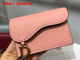 Dior Saddle Calfskin Card Holder in Pink Replica